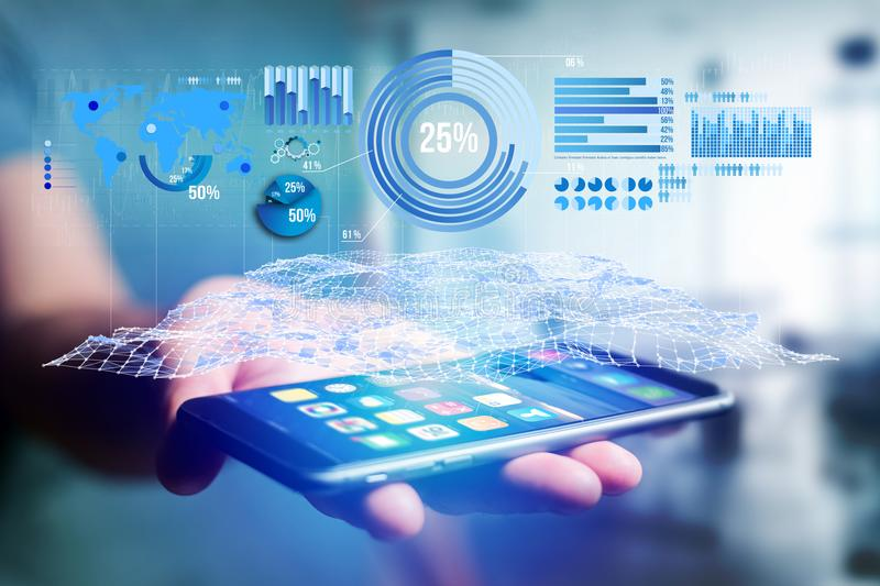 Business stats displayed as graph and chart on a futuristic interface - Business concept. View of a Business stats displayed as graph and chart on a futuristic stock photos