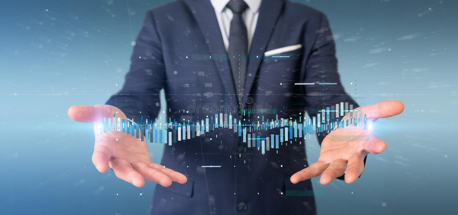 Businessman holding a Business stock exchange trading data information. View of a Businessman holding a Business stock exchange trading data information royalty free stock photos