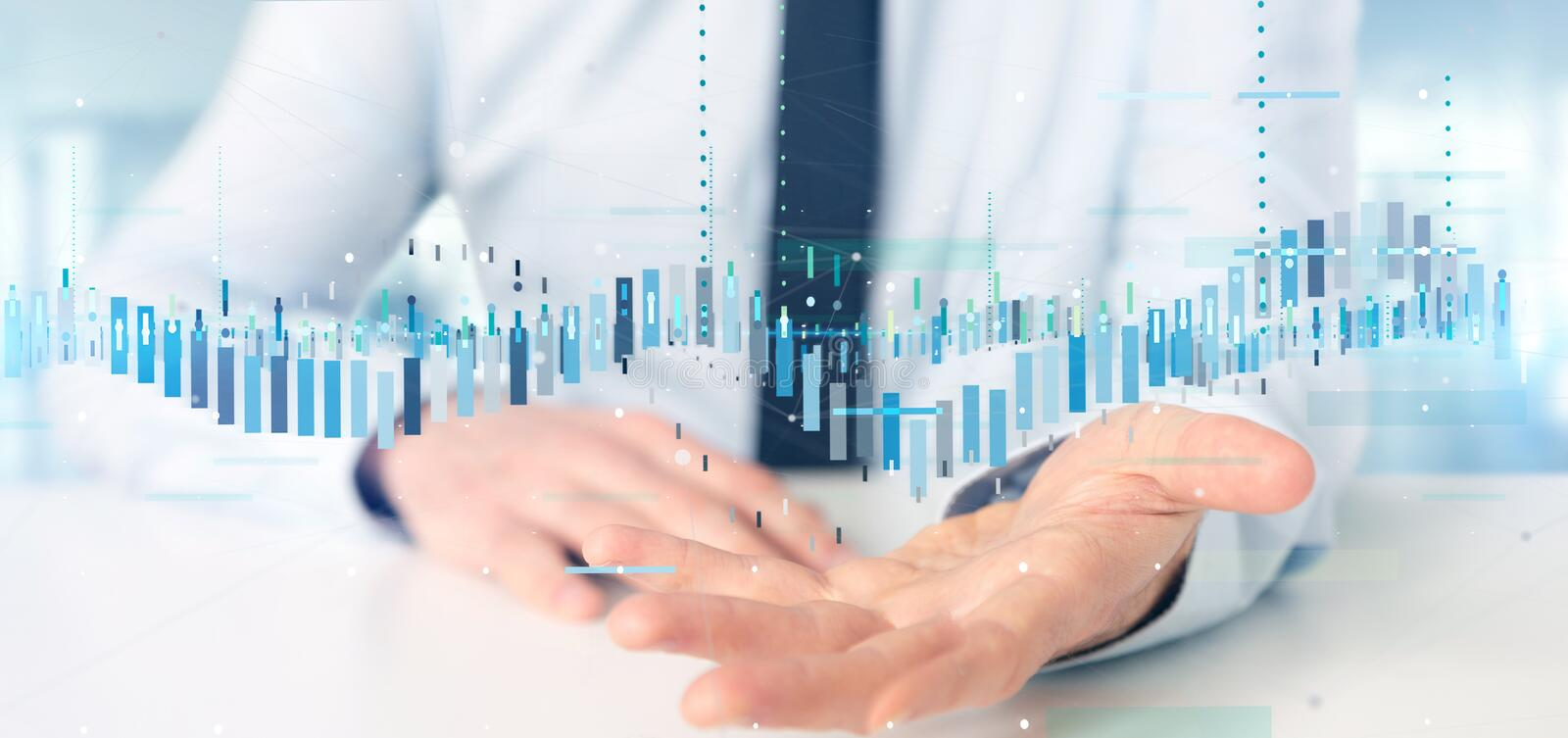 Businessman holding a Business stock exchange trading data information stock photography