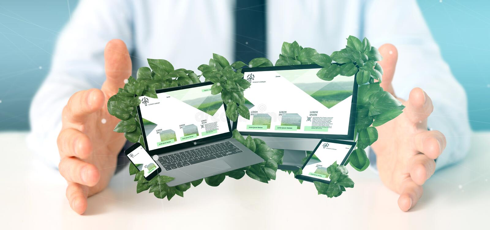 Businessman holding a Connected devices surrounding by leaves 3d rendering. View of a Businessman holding connected devices surrounding by leaves 3d rendering royalty free stock photos