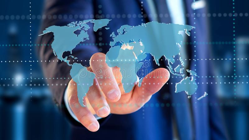 Businessman holding a Connected world map on a futuristic interface - 3d render. View of a Businessman holding a Connected world map on a futuristic interface royalty free stock photo