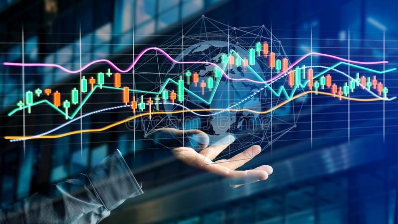 Businessman holding a 3d render Stock exchange trading data info. View of a Businessman holding a 3d render Stock exchange trading data information display on a stock photos