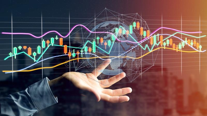 Businessman holding a 3d render Stock exchange trading data info. View of a Businessman holding a 3d render Stock exchange trading data information display on a stock images