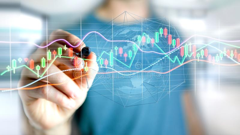 Businessman holding a 3d render Stock exchange trading data info stock image