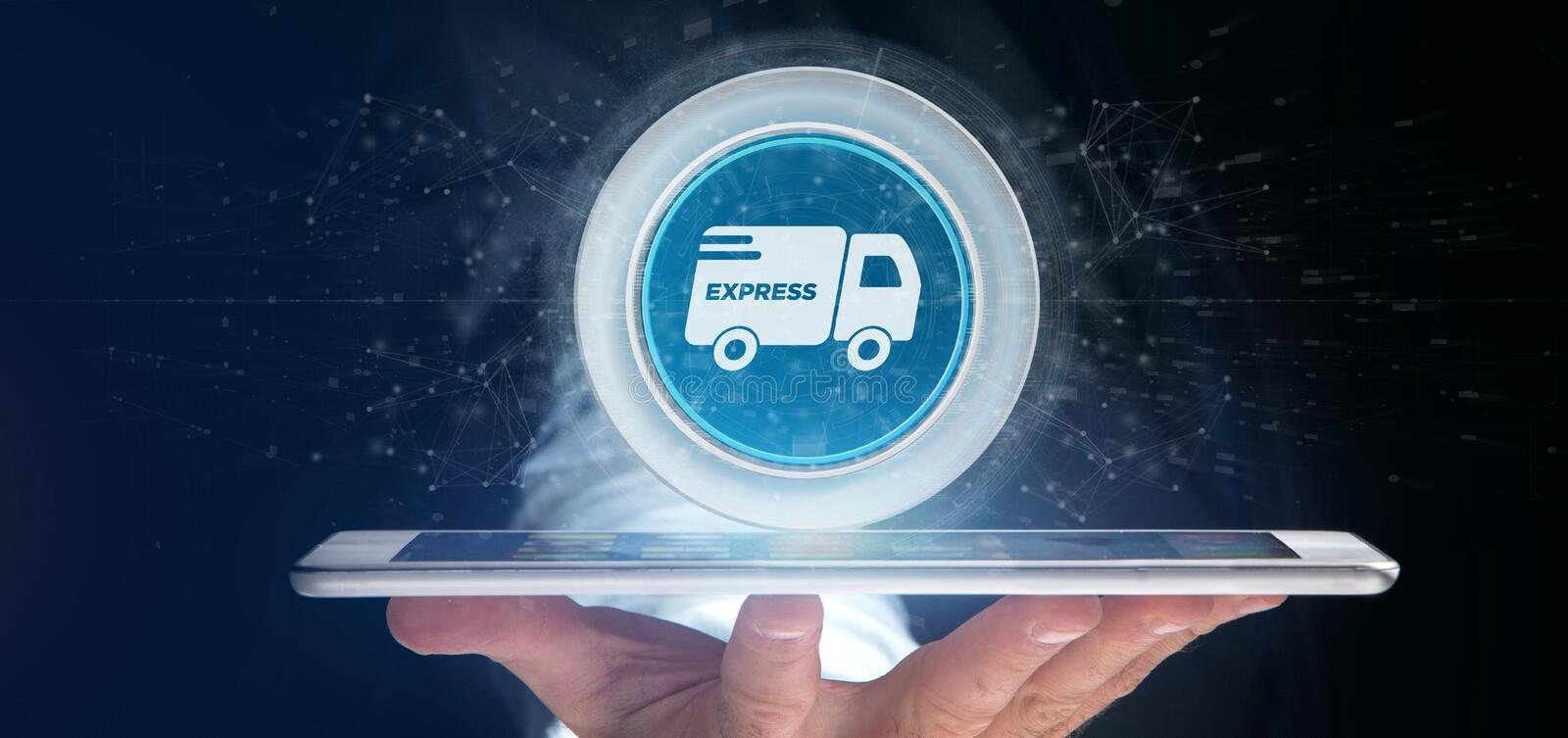 Businessman holding a Fast delivery button with connection 3d re royalty free stock image