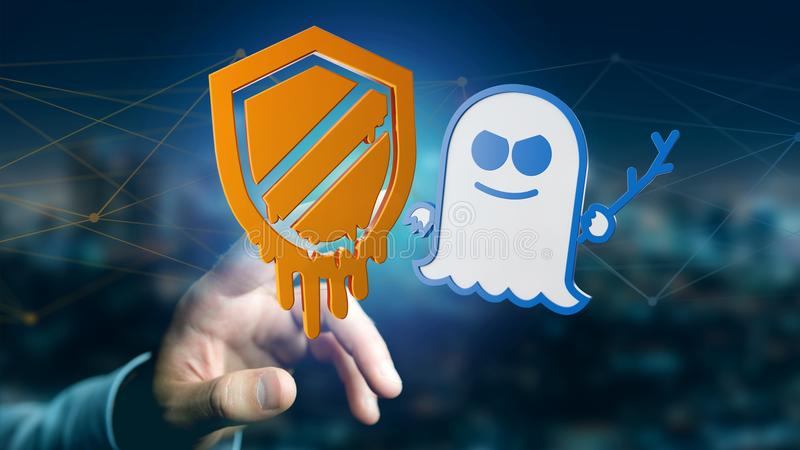 Businessman holding a Meltdown and Spectre processor attack with stock photos