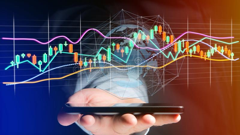 Businessman usng a smartphone with a 3d render Stock exchange tr stock photo