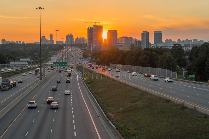 View of busy Highway 401 in Toronto, Canada at the sunset stock image