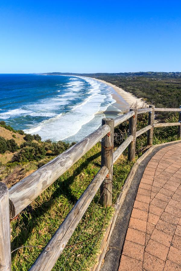 View of Byron Bay. View of Tallow beach from Byron Bay from Cape Byron, New South Wales, Australia royalty free stock photos