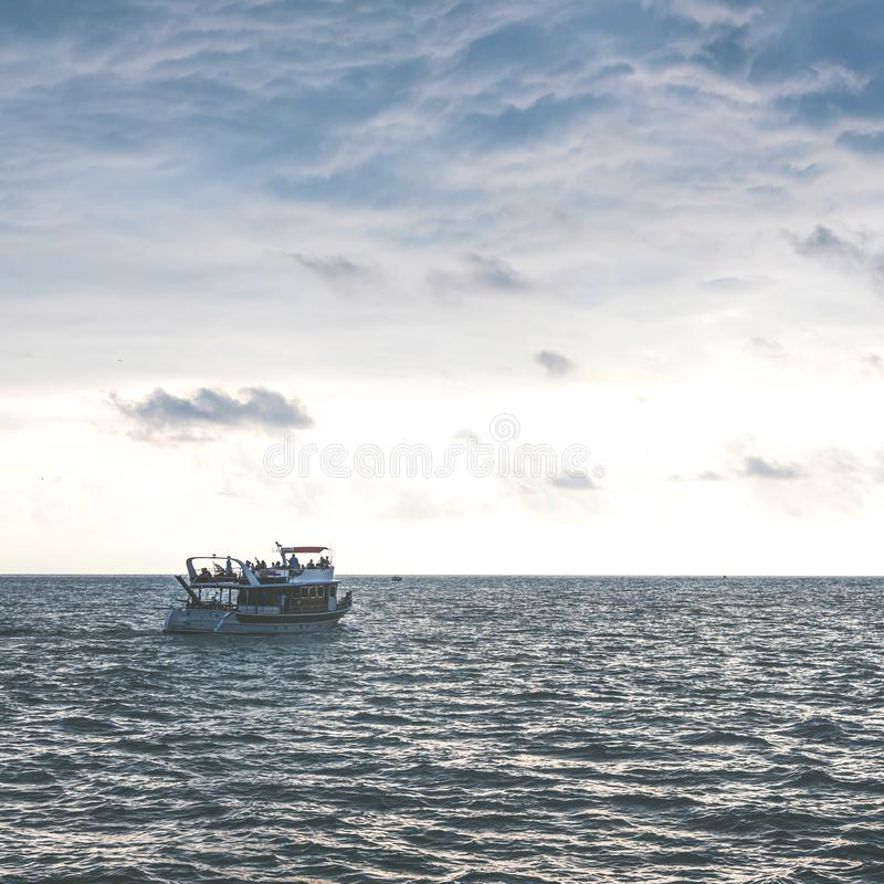 View from cabin Seascape picture. The sky with clouds, waves on the sea surface. Pleasure boat went out to sea photos stock photography