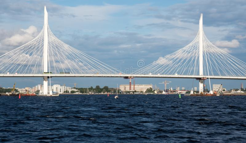 Cable bridge through western high-speed diameter royalty free stock image