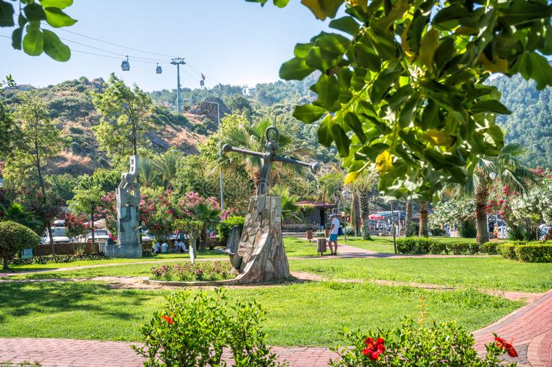 View of the cable car booths. Turkey. View of the cable car booths in the city of Alanya from the green park royalty free stock photography