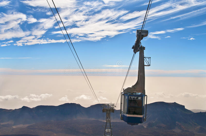View of cable car over mountain range. View of cable car over el teide national park stock photography