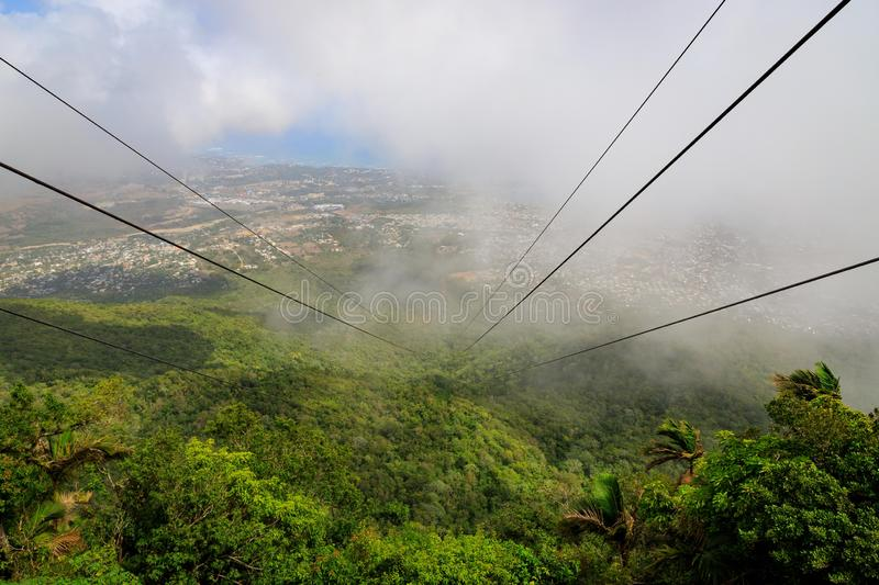 View from the cable car to the jungle with fog. Mount Isabel de royalty free stock photography