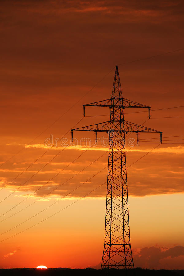 View of cables on pylon stock photo