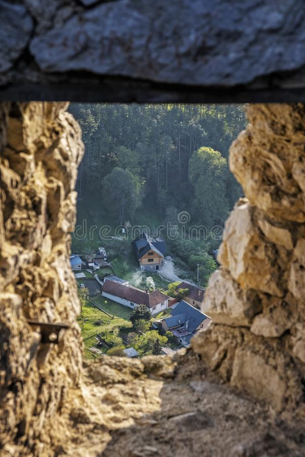 View from Cachtice castle ruins to Visnove, Slovakia. View from Cachtice castle ruins to Visnove village, Slovak republic. Travel destination stock photos