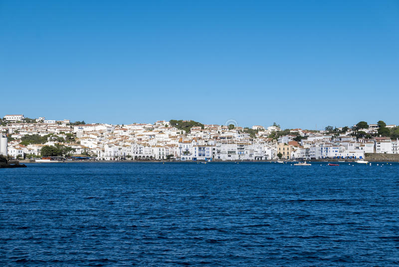 View of Cadaques and the Mediterranean seaside, traditional village in Spain. Cadaques on Mediterranean seaside, Costa Brava, Catalonia, Spain stock image
