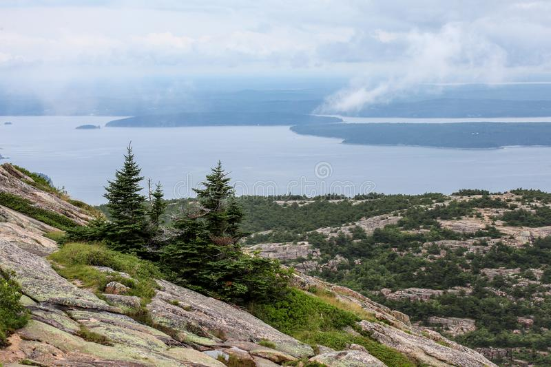 View from Cadillac Mountain in Acadia National Park, Maine royalty free stock photography