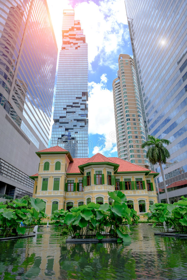 View of Cafe in W Bangkok Hotel by street Old Russian Embassy. BANGKOK THAILAND - JUNE 8, 2017 : View of Cafe in W Bangkok Hotel by street Old Russian Embassy stock photo