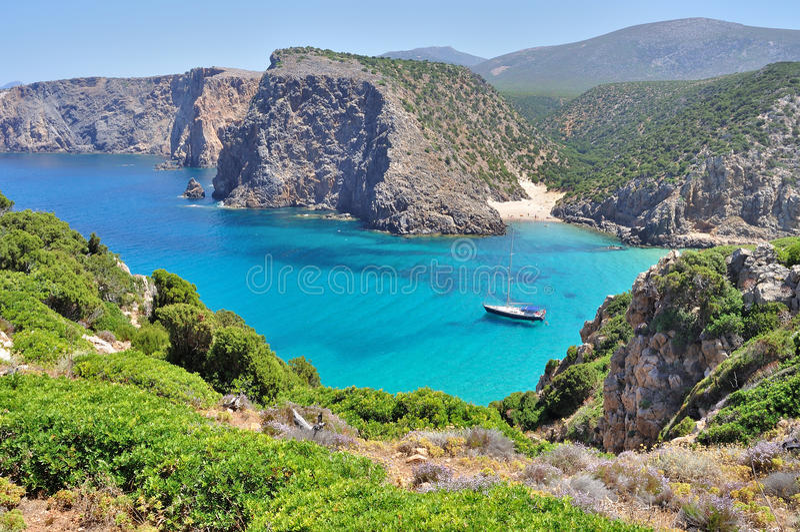 View of Cala Domestica beach, Sardinia, Italy stock images