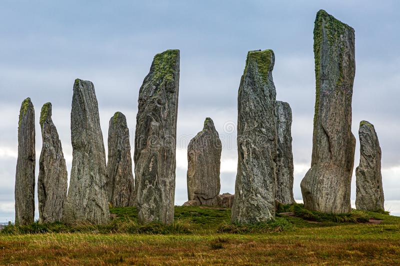 Calanais Standing Stones on the Isle of Lewis. A view of the Calanais Standing Stones on the Hebridean Island of Lewis stock photos