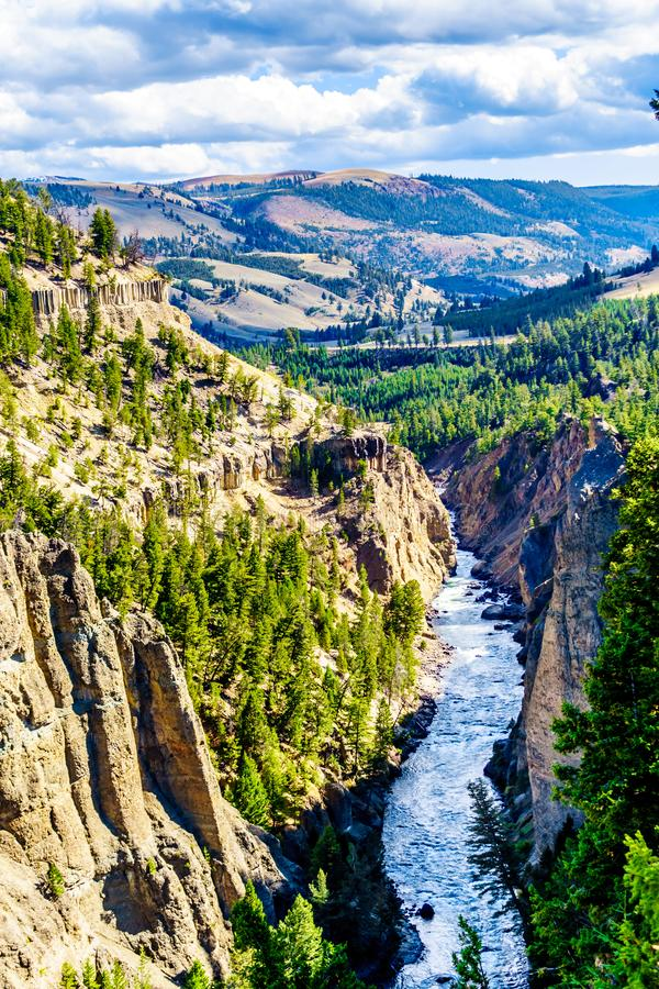 View from Calcite Springs Overlook of the Yellowstone River stock images
