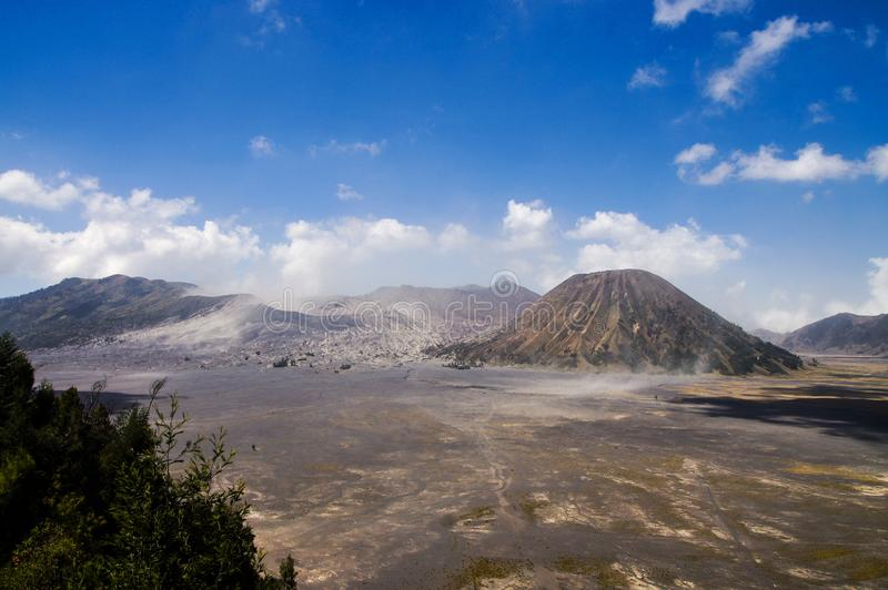 View on caldera of old volcano Tengger with Bromo and Batok volcanoes located there, Bromo Tengger Semeru National Park, East. Java, Indonesia stock photo