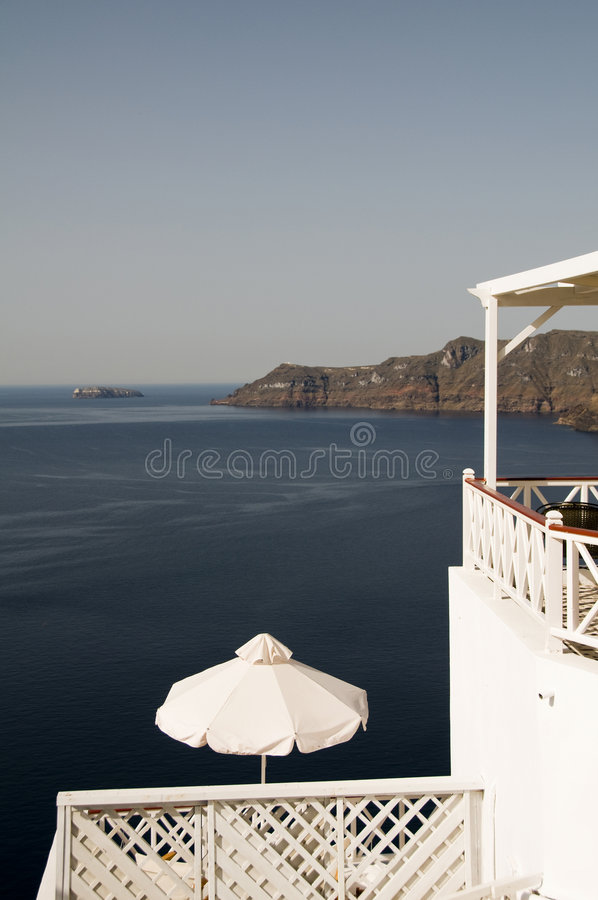 View Of Caldera From Patio Oia Santorini Stock Photography