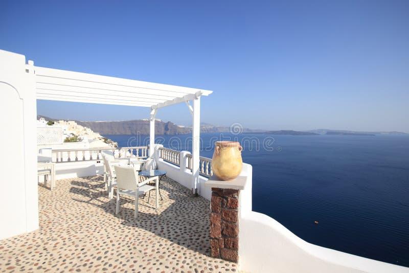 View On Caldera And Sea From Balcony Royalty Free Stock Photo