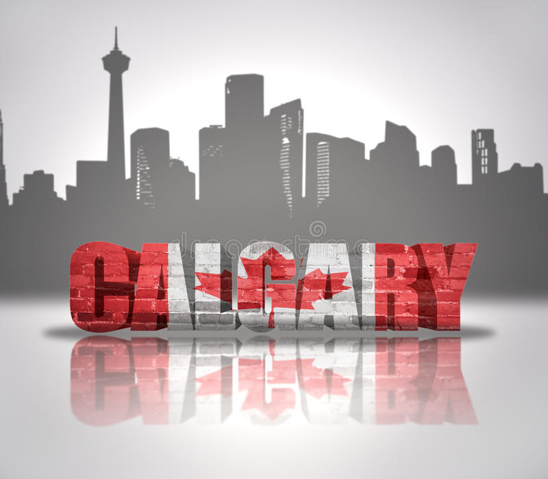 View of Calgary. Word Calgary with national flag of Canada near skyline silhouette stock illustration