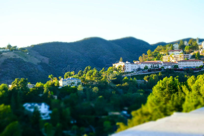 View of California Hills. Tilt-shift view of homes in the California hills royalty free stock image