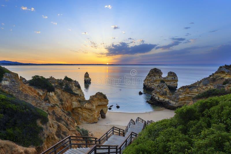View of Camilo beach at sunrise stock photos