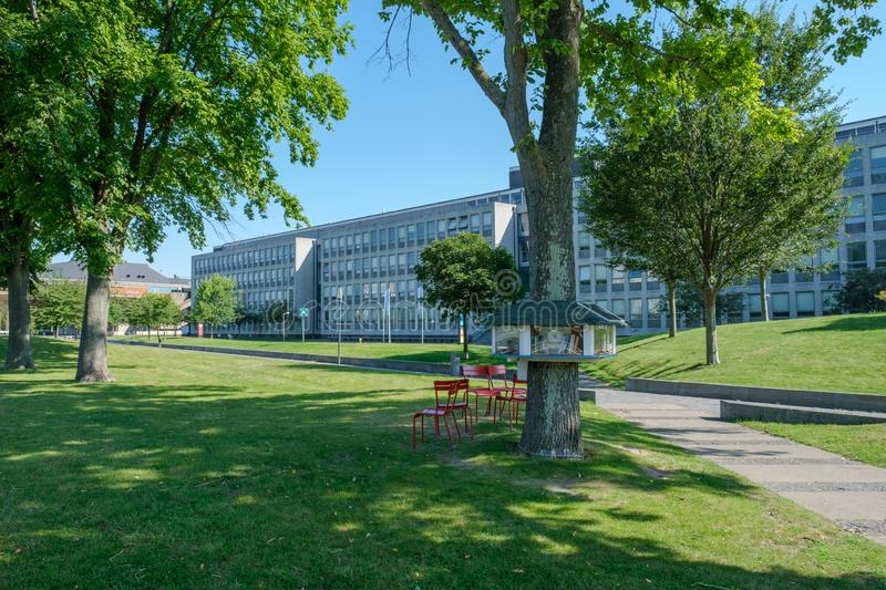 View on the campus of the Delft University of Technology, Netherlands royalty free stock image