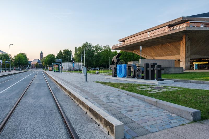 View on the campus of the Delft University of Technology, Netherlands royalty free stock photo