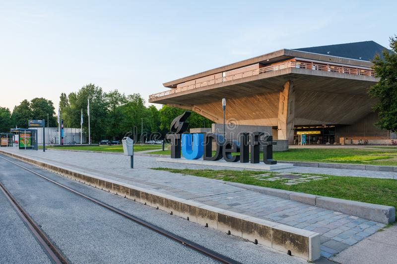 View on the campus of the Delft University of Technology, Netherlands stock photography