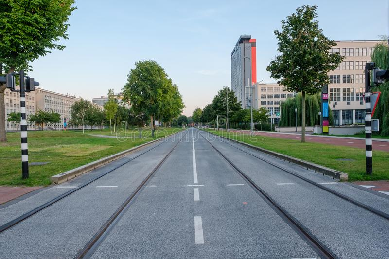 View on the campus of the Delft University of Technology, Netherlands royalty free stock photos