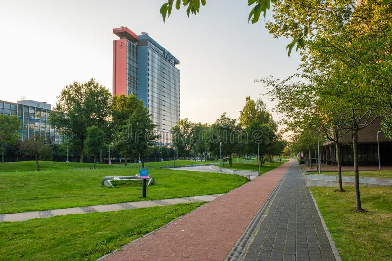 View on the campus of the Delft University of Technology, Netherlands stock photos