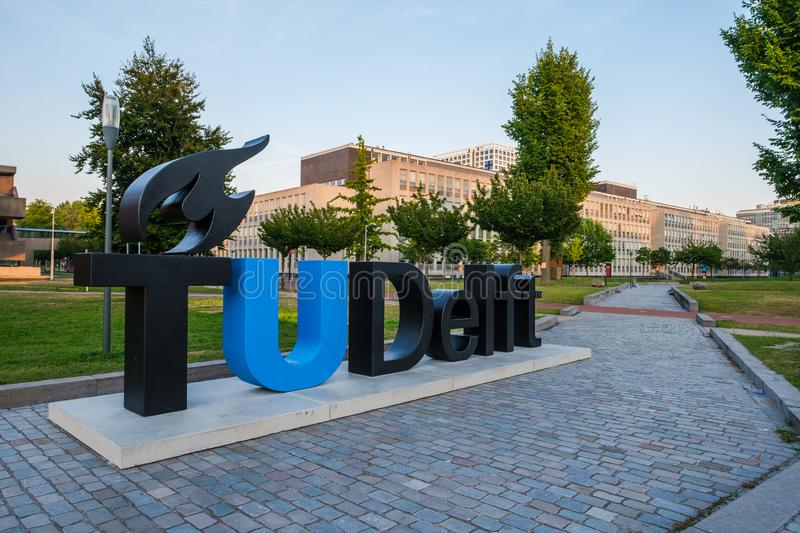View on the campus of the Delft University of Technology, Netherlands royalty free stock images