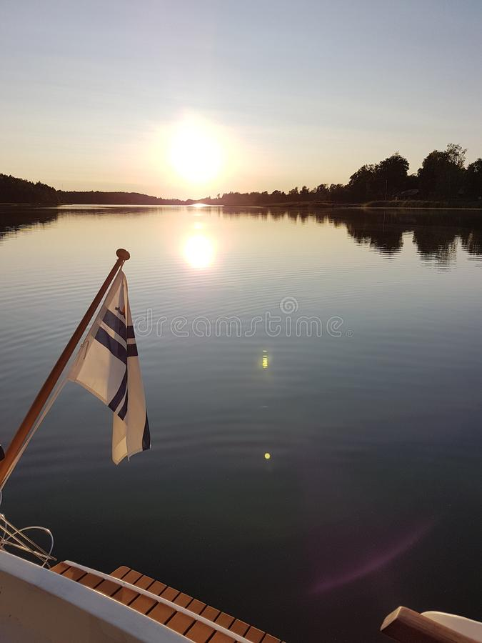 Sunset somewhere in archipelago of Finland stock photography