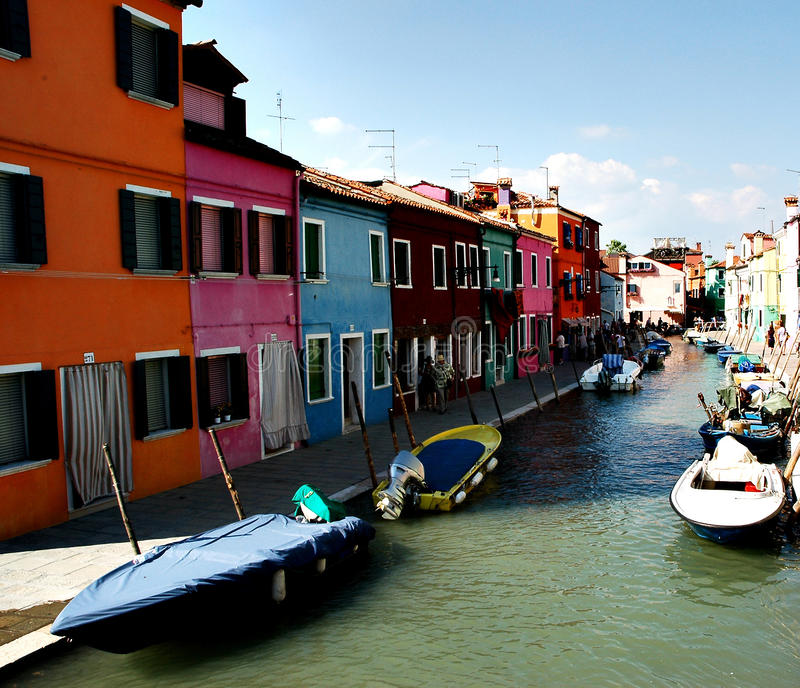 View from a canal in Burano stock image