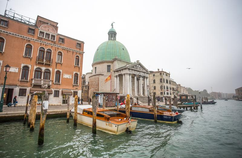 View of Canal Grande in a foggy day, Venice, Italy royalty free stock images
