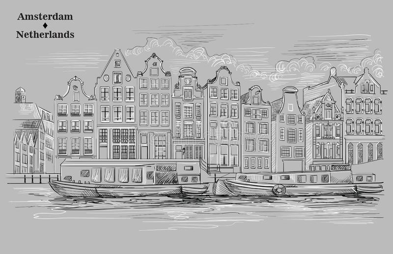 Grey vector hand drawing Holland 7. View on canals, embankment, houses and boats in Amsterdam, Netherlands. Landmark of Netherlands. Vector hand drawing stock illustration