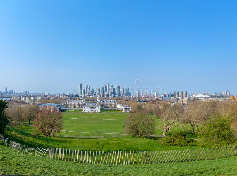 Canary Wharf in Greater London. View of the Canary Wharf district from the Royal Observatory in Greenwich, London, UK stock photo