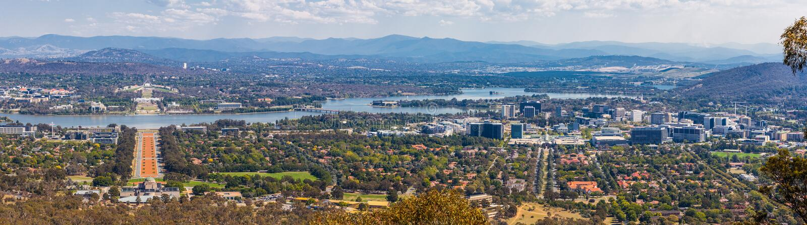View of Canberra from Mount Ainslie. stock photos