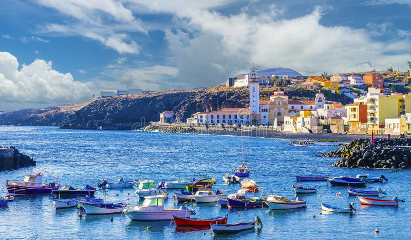 View of Candelaria town of Tenerife, Canary Islands, Spain royalty free stock images
