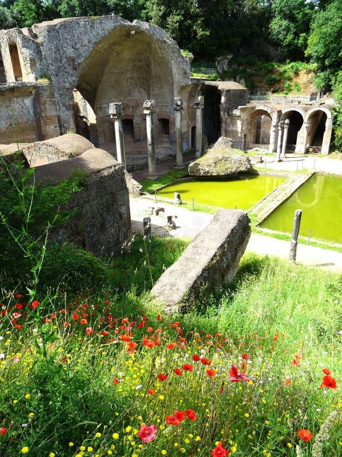 UNESCO World Heritage. Vila Adriana. Italy. View of the Canopo pond in Vila Adriana in spring time. Tivoli. Roma. Italy stock image