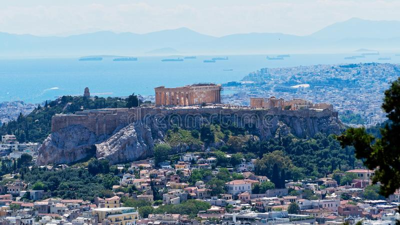 View of Athens City and the Acropolis From Mount Lycabettus, Greece royalty free stock images