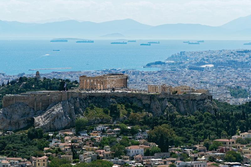 View of Athens City and the Acropolis From Mount Lycabettus, Greece royalty free stock image