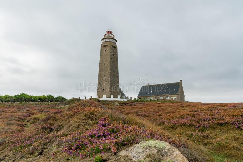 View of the Cap Levi lighthouse and heath on the north coast of Normandy in France stock image