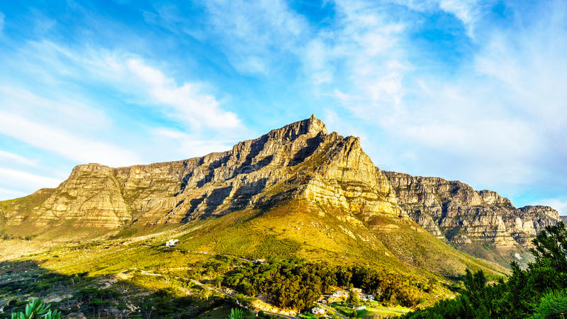 View of Cape Town, Table Mountain and the Twelve Apostles. From the hiking trail to the top of Lions Head mountain near Cape Town South Africa on a nice winter royalty free stock photography